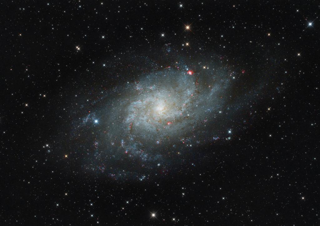 Im Sternbild Dreieck befindet sich die Dreiecksgalaxie mit der Bezeichnung Messier 33. Sie ist etwa 2,7 Millionen Lichtjahre entfernt. Schon mit dem Fernglas kann man die Sterneninsel als Fleckchen ausmachen. Diese Aufnahme entstand auf der Hohen Geba mit Hilfe eines Spiegelteleskopes und einer Spiegelreflexkamera. (Foto: Werner Klug)