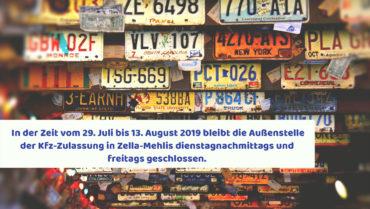 Geänderte Öffnungszeiten Kfz-Zulassungsstelle Zella-Mehlis