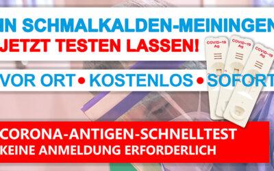 Corona-Schnelltest-Angebote  im Landkreis Schmalkalden-Meiningen von 8. bis 13. März 2021